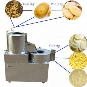 Potato Washing Cleaning and Cutting Machine